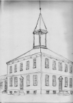 drawing of a square building with a tower