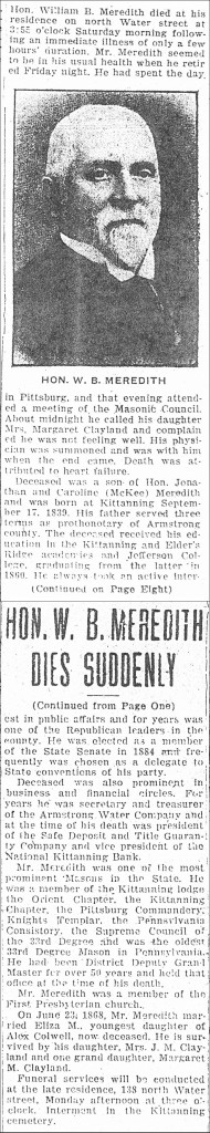 William B. Meredith Obituary in 1924